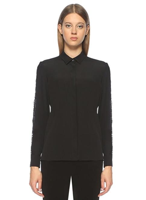 Beymen Collection İngiliz Yaka Kolları Dantelli Şerit Detaylı İpek Gömlek Siyah